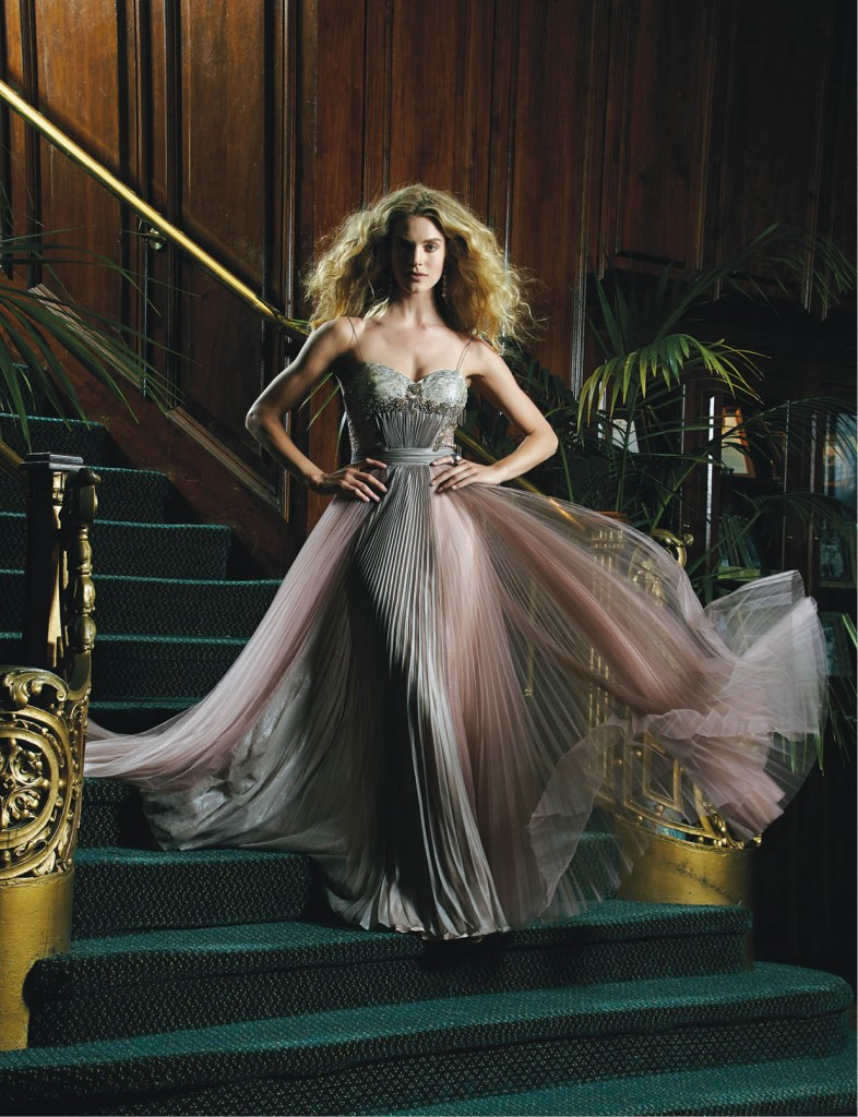 Deep plum tulle skirted gown with encrusted bodice, $695: Neiman Marcus. I∙N∙C smoky-stone ring, $7: Macy's.