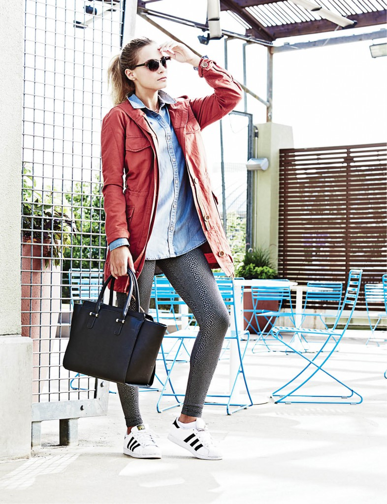 Harvest Anorack jacket, $128: LOFT. 1969 Tencel denim tunic, $59.95: Gap. Hard Tail Forever basic leggings, $85: Exhale Spa. Black handbag, $39.95: H&M. Cat-eye sunglasses, $24.50: LOFT. Adidas Superstar Foundation shoe, $80: Urban Outfitters.