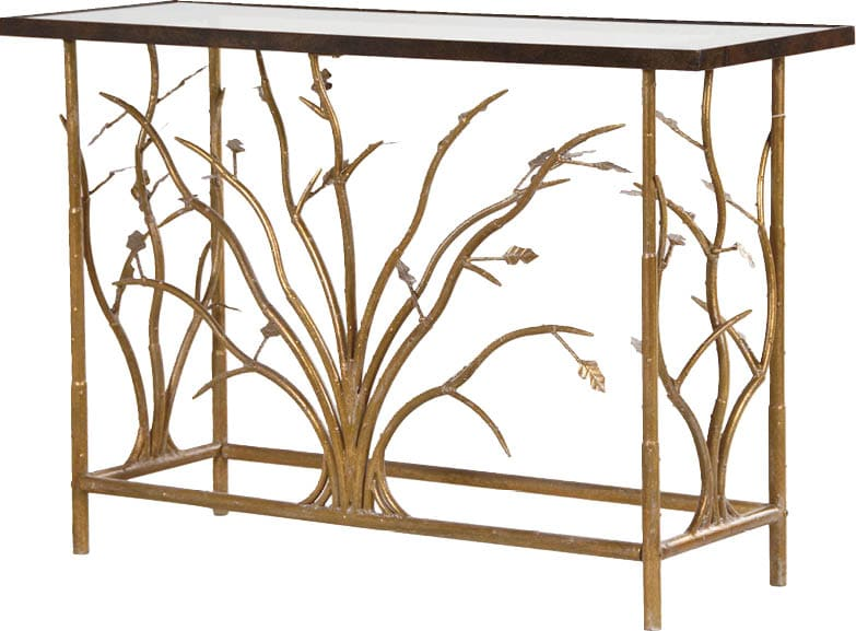 Today you need a sofa table—next year, thanks to a move or downsizing, perhaps you'll need a small desk. We love pieces accommodating enough to perform more than one purpose. This stunning Evergreen glass top console table would make an elegant statement in any interior—contemporary or traditional. A deceptively simple piece with detailed floral designs on the gold finish metal frame and a sophisticated clear glass top, it could also work well as a desk. SweetPeaAndWillow.com