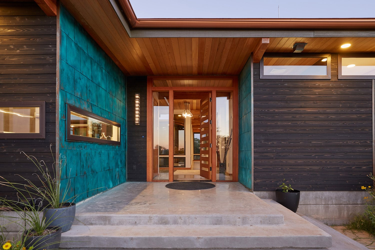 Porch Jeff Derebery's custom Lindal Hestia home in the Texas Hill Country, Johnson City