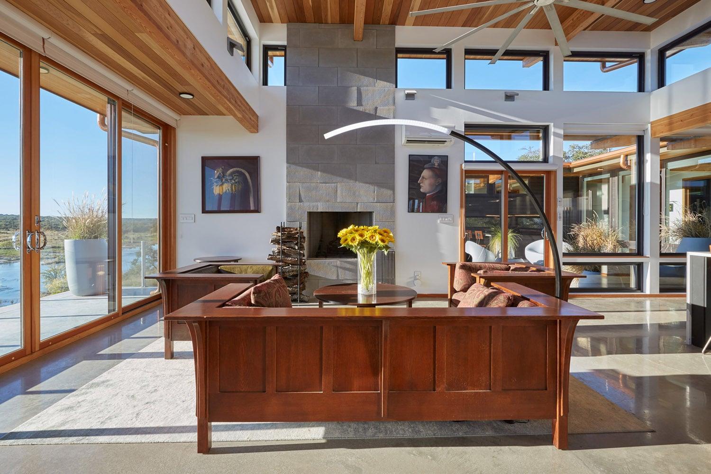 living room Jeff Derebery's custom Lindal Hestia home in the Texas Hill Country, Johnson City
