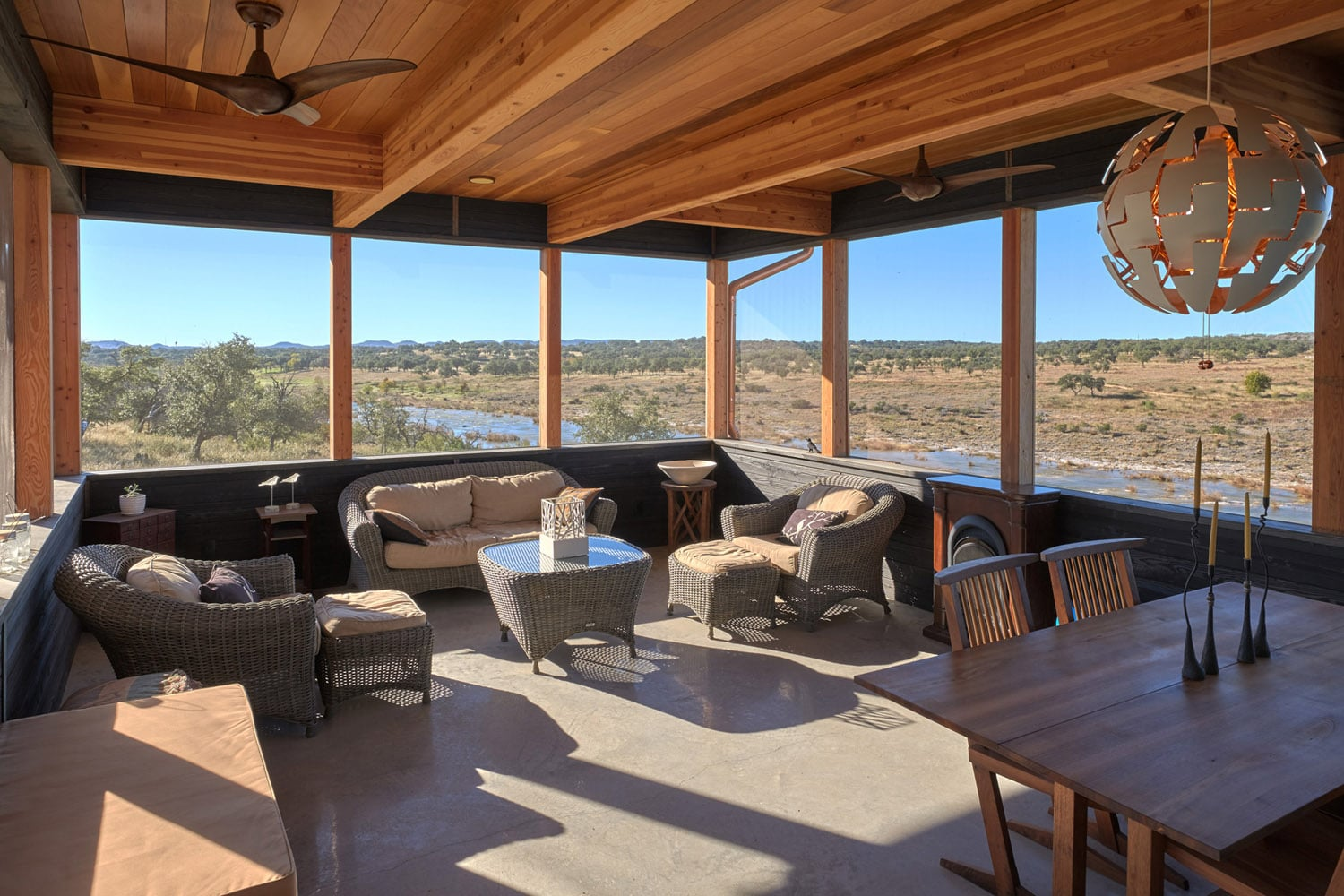 Epic views at Jeff Derebery's custom Lindal Hestia home in the Texas Hill Country, Johnson City