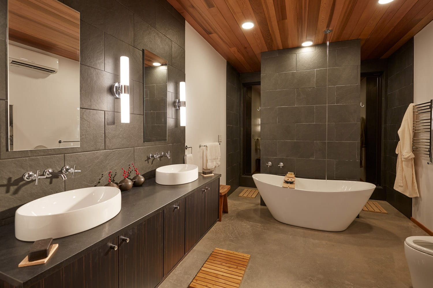 Master bathroom at Jeff Derebery's custom Lindal Hestia home in the Texas Hill Country, Johnson City