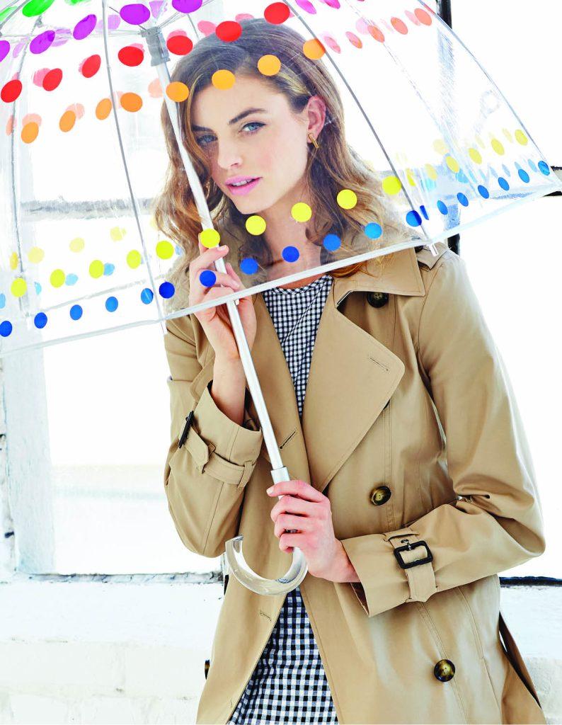 Trench coat, $195: Michael Kors North Park Center. Belted gingham dress, $160: Michael Kors North Park Center. Totes primary dots umbrella, $26: Belk. Vince Camuto earrings, $20: Belk.