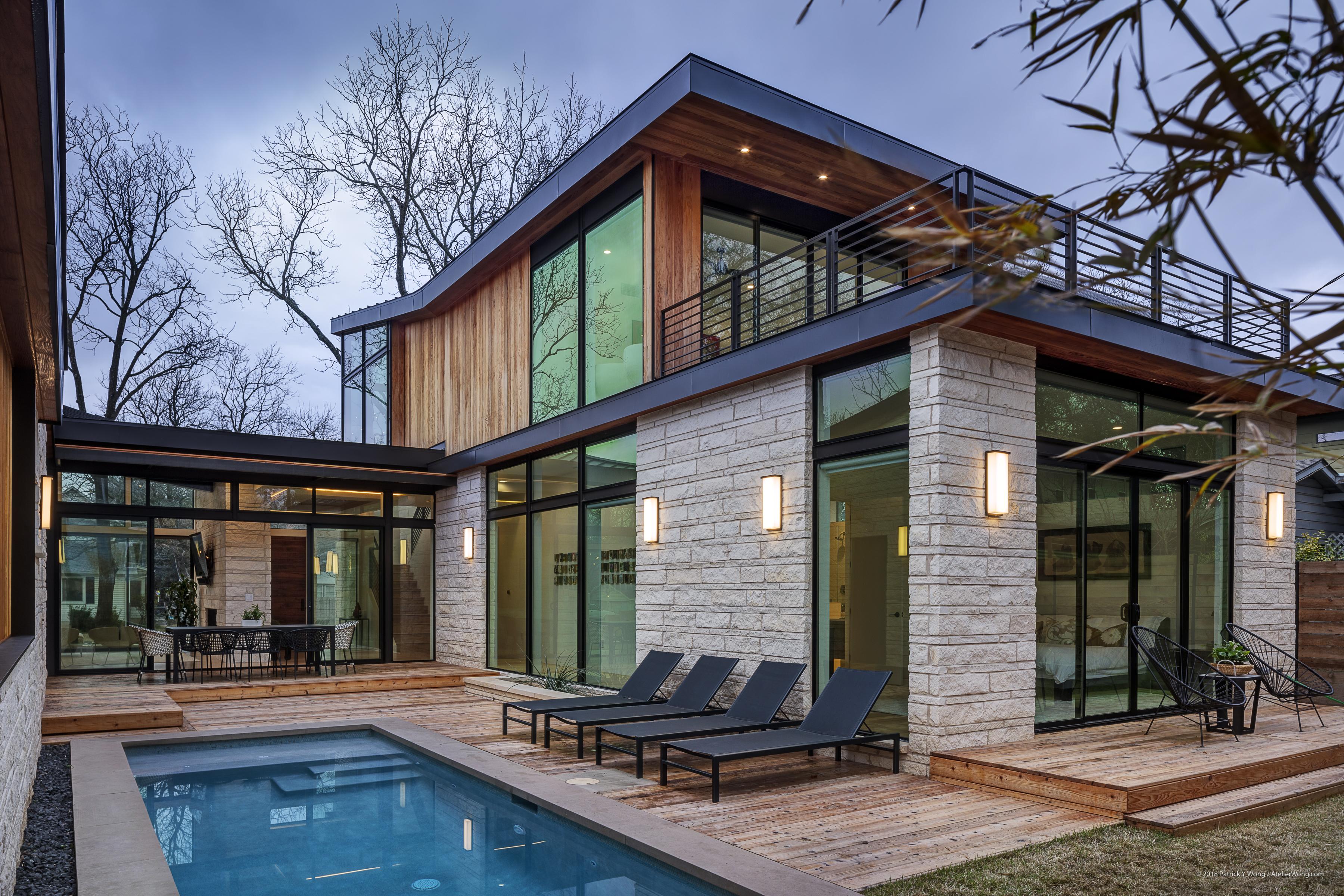 home tour pool modern home texas