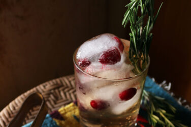 Holiday Spritzer with Cranberry Ice Cubes